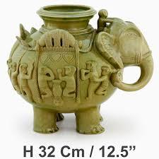 handmade elephant jar with very fine cambodian ritual details