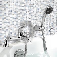 ibathuk chrome bath filler mixer tap hand held shower head