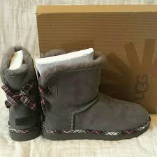 ugg bailey bow sale size 7 33 ugg boots sold ugg bailey bow plaid gray boots 7 nwb