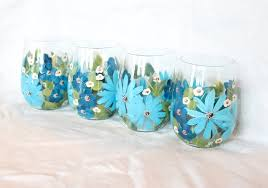 painted stemless wine glasses longhorn hand painted stemless wine