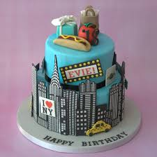 new york themed 2 tier birthday cake