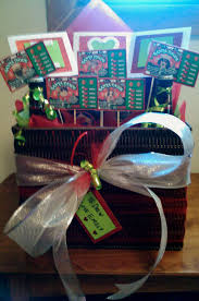 a christmas gift basket idea includes themed lottery tickets gift