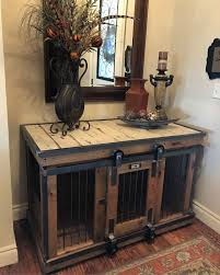barn door side table farmhouse style single dog kennel by kennel and crate barn door