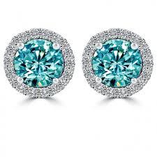 blue diamond stud earrings 1 85 carat fancy blue diamond pave halo diamond studs earrings 18k