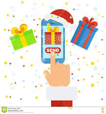 santa send gift stock vector image 79942575