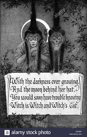 illustration halloween rhyme poem witch and cat stock photo