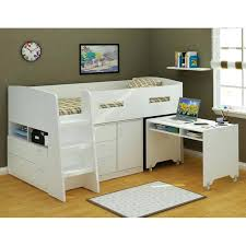 Bunk Bed With Storage And Desk White Loft Bed With Desk Bedrooms Black And White Loft Bed Has An