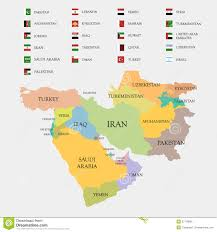 Mid East Map Middle East Map And Flags Royalty Free Stock Images Image 37178899