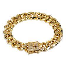 cuban chain bracelet images Jinao 12mm 18k gold plated cuban chain bracelet with jpg