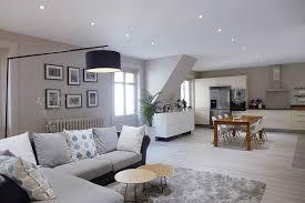 interieur et canapé réalisation skéa designer gris perle et bleu pétrole une pièce