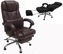 Leather Office Chair Reclining Office Chair W Footrest