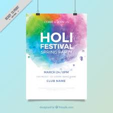festival brochure template holi festival brochure template in watercolor style vector free