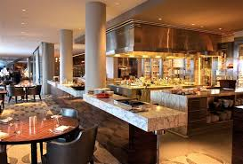 open kitchen design for luxury restaurant with recessed light and