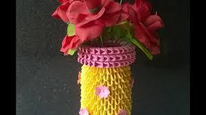 Origami 3d Flower Vase 3d Origami Flower Vase How To Make Flower Vase Using Paper