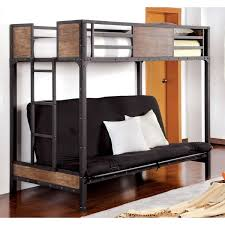 furniture of america markain industrial metal loft bed with futon