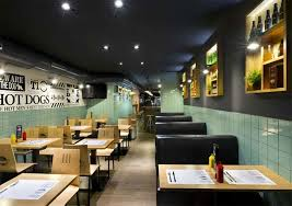Sage Green Tile With Black Leather Sofa For Nice Fancy Fast Food - Fast food interior design ideas