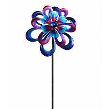 metal flower garden stakes alpine 94 in metal round flower spinning garden stake kpp428