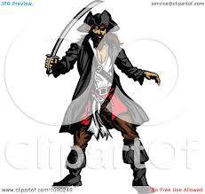 clipart defensive pirate with a sword royalty free vector