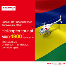 Mauritius Flag Independence Anniversary Offer Helicopter Tour Atom Travel