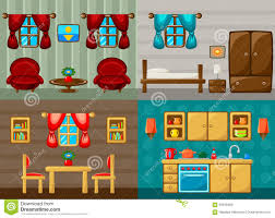 four vector rooms bedroom drawing room dining room and kitchen