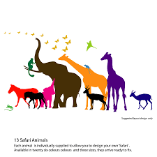 28 jungle animals wall stickers newbaby jungle animals jungle animals wall stickers thirteen safari animal wall stickers new sizes by the
