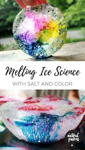 melting ice science experiment with salt u0026 liquid watercolors