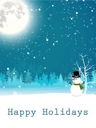 moonlight snowman happy holidays card birthday greeting cards