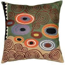 Cushion Covers For Sofa Pillows by Klimt Green Swirls Decorative Pillow Cover Wool Hand Embroidered
