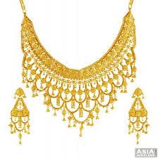 bridal gold set 22k bridal gold necklace set ajns56074 22k designer gold