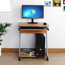 bureau informatique en bois bureau table meuble informatique avec tablette clavier bois foncé
