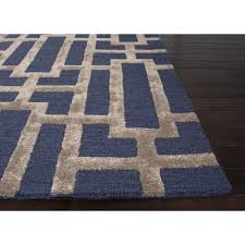 Silk Area Rugs Jaipur Rugs Modern Geometric Pattern Blue Taupe Wool And Silk