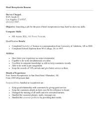 Hotel Resume Job Application Cover Letter For Hotel Receptionist Position
