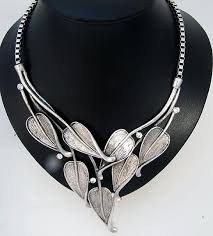 sterling silver necklace australia images Cozy chunky silver necklace statement leaves costume jewelry jpg