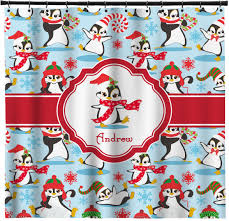 christmas penguins shower curtain personalized youcustomizeit