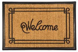 welcome with border recycled rubber coir doormat welcome with