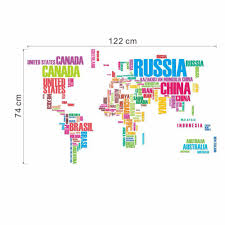 text world map wall characters stickers decoration living room