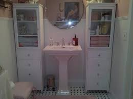 furniture double tall white wooden shabby bathroom vanity with