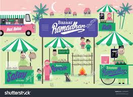 ramadhan bazaar template vectorillustration malay words stock