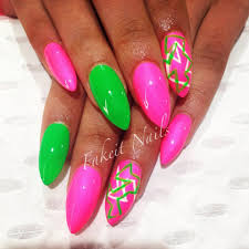 pink u0026 green acrylic nails with bright hand painted design by