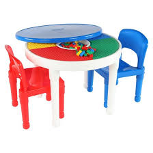 Plastic Table And Chairs Round Plastic Construction Table With 2 Chairs U0026 Cover White