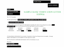 bank account verification letter sample