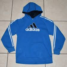 light blue adidas hoodie light blue adidas hoodie with navy blue and white details depop