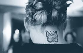 tatatatta picture with butterfly back neck tattoos design