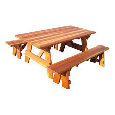 Outdoor Dining Bench Best Redwood Outdoor Farmers Picnic Table And Benches Hayneedle