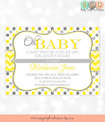 polka dot invitations polka dot and chevron baby shower invitation baby girl yellow