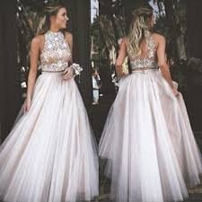 2016 two piece prom dress high neck tulle with rhinestone
