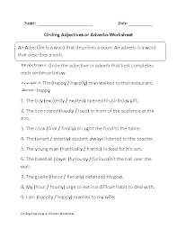 adjectives or adverbs worksheets circling adjectives or adverb