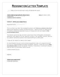 resignation letter the format of resignation letter template