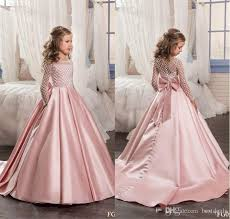 flower girl dresses 2017 blush pink flower girl dresses satin kids evening gowns with