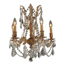 Crystal And Gold Chandelier Worldwide Lighting Windsor Collection 5 Light French Gold And